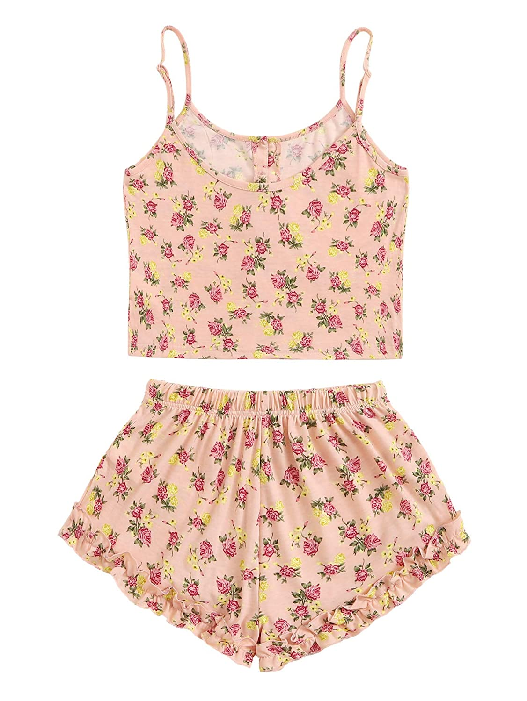 7e19fa8b329a SheIn Mujeres Flamingo impresión Cami Parte Superior y Juego de ...