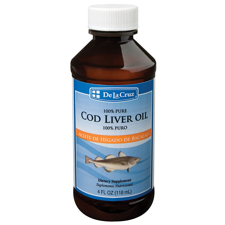 De La Cruz Cod Liver Oil Liquid - Pure Wild-Caught Icelandic Fish Oil 4 FL OZ (118 ml)