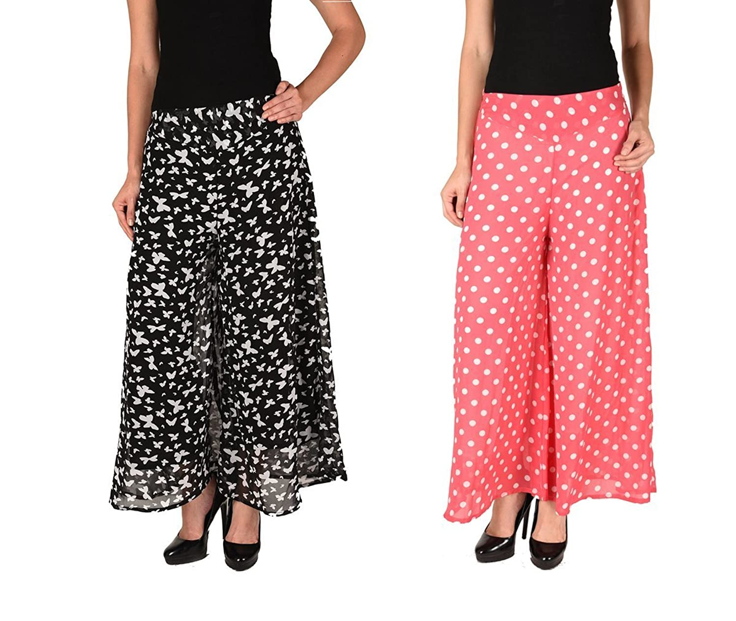 2Day Women's Stylish Georgette Plazzo Butterfly Print And Polka (Pack of 2)