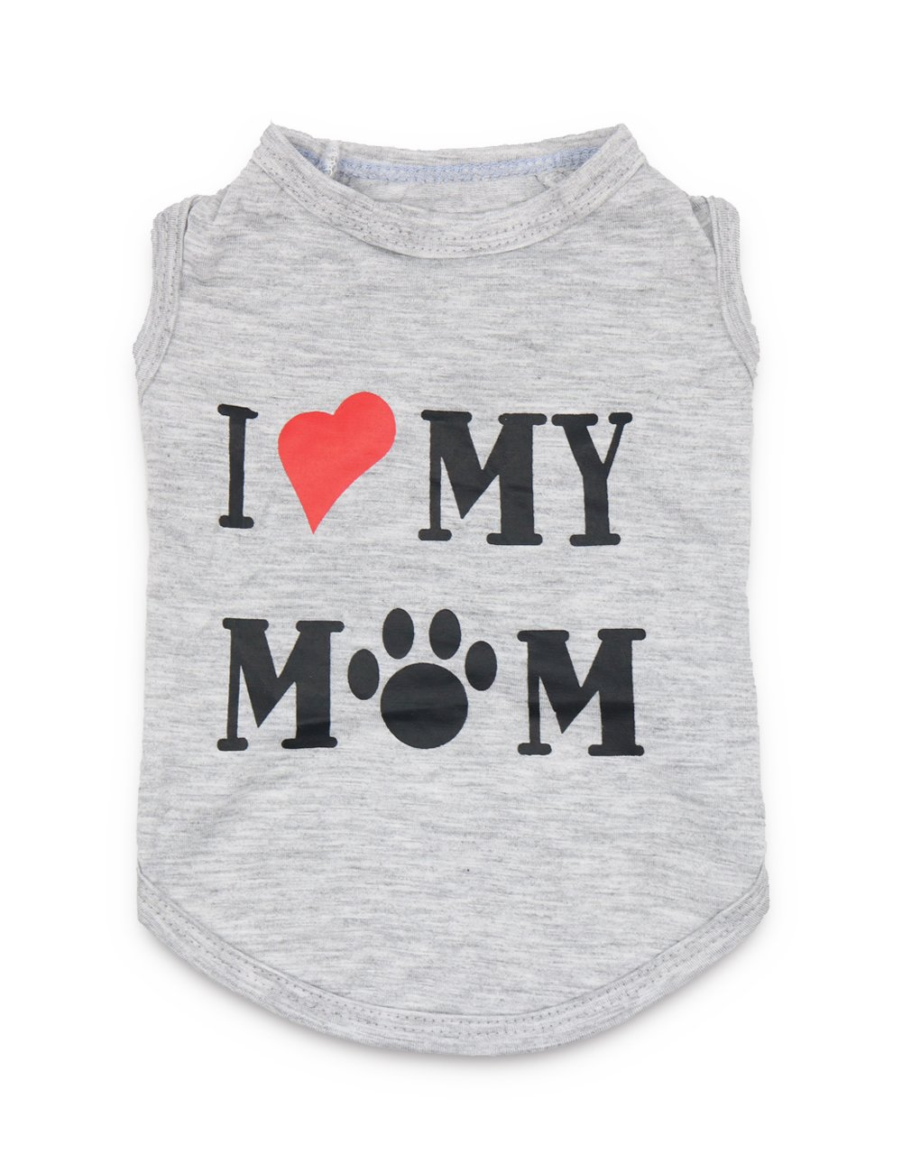 DroolingDog Dog Clothes Puppy Shirts I Love My Mom Dog T Shirt for Small Dogs, Small, Grey