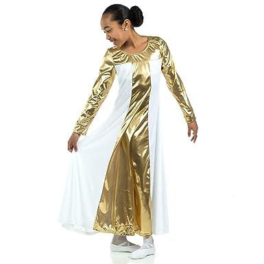 10d466719d339 Amazon.com: Danzcue Girls Metallic Color Block Long Sleeve Praise Dance  Dress: Clothing
