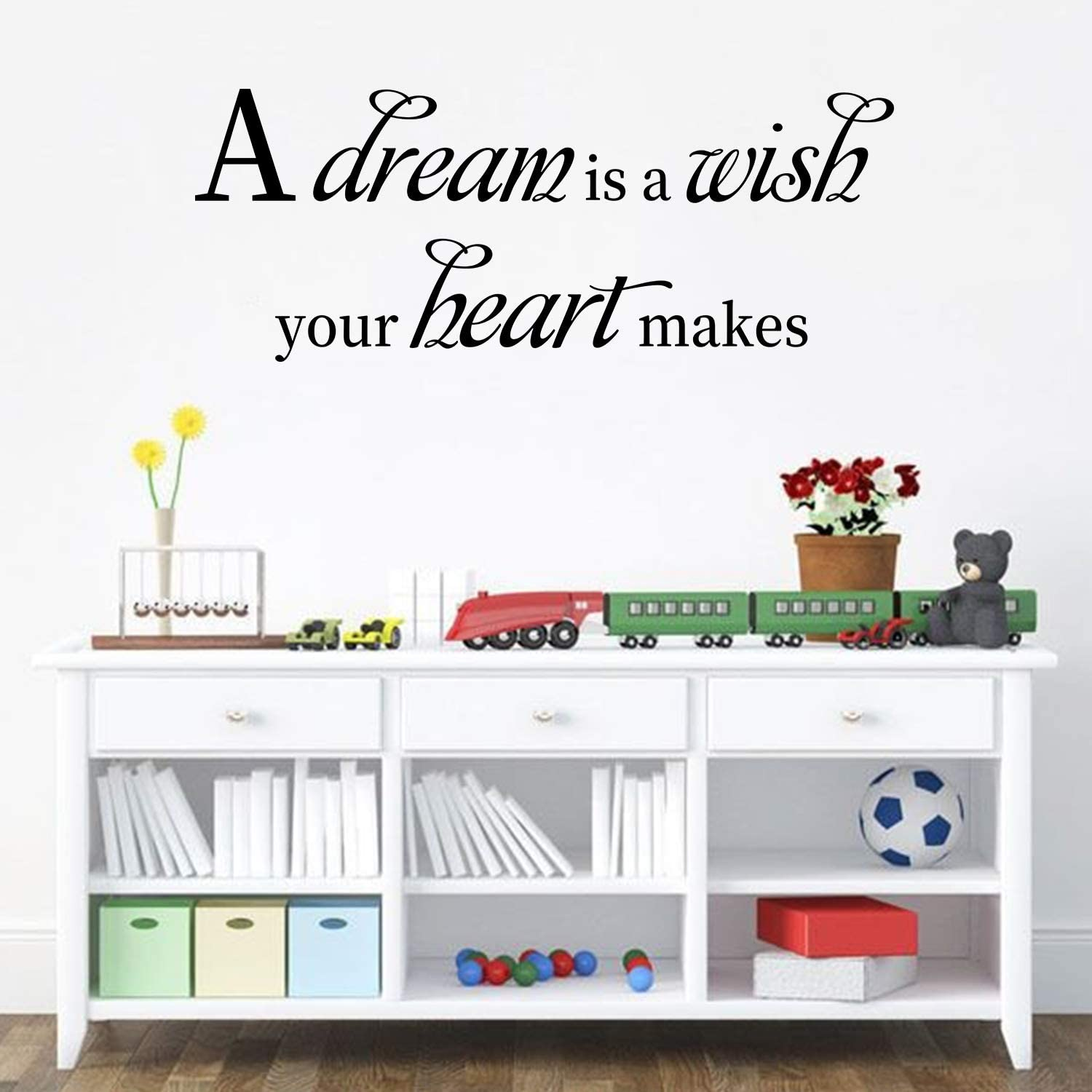 AnFigure Wall Decals Quotes, Inspirational Wall Decals, Disney Cinderella Movie Music Song Living Room Bedroom Bed Family Couple Home Art Decor Vinyl Stickers A Dream is a Wish Your Heart Makes 23