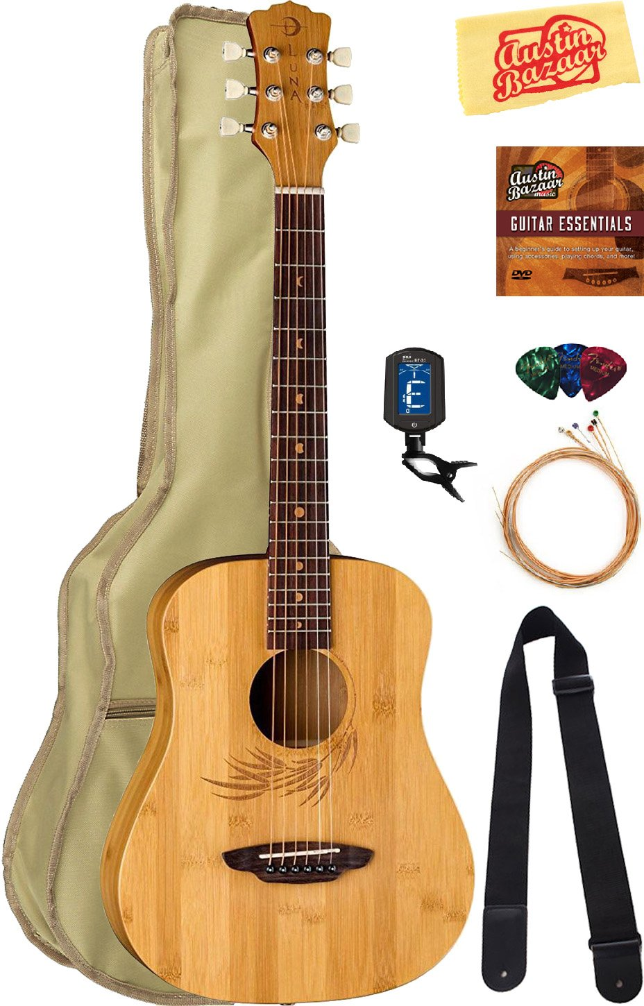 Luna Safari Bamboo Travel Guitar Bundle with Gig Bag, Strap, Strings, Tuner, Picks, Austin Bazaar Instructional DVD, and Polishing Cloth by Luna Guitars