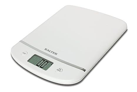 HoMedics Salter - Báscula electrónica de cocina y medidor de volumen, color blanco