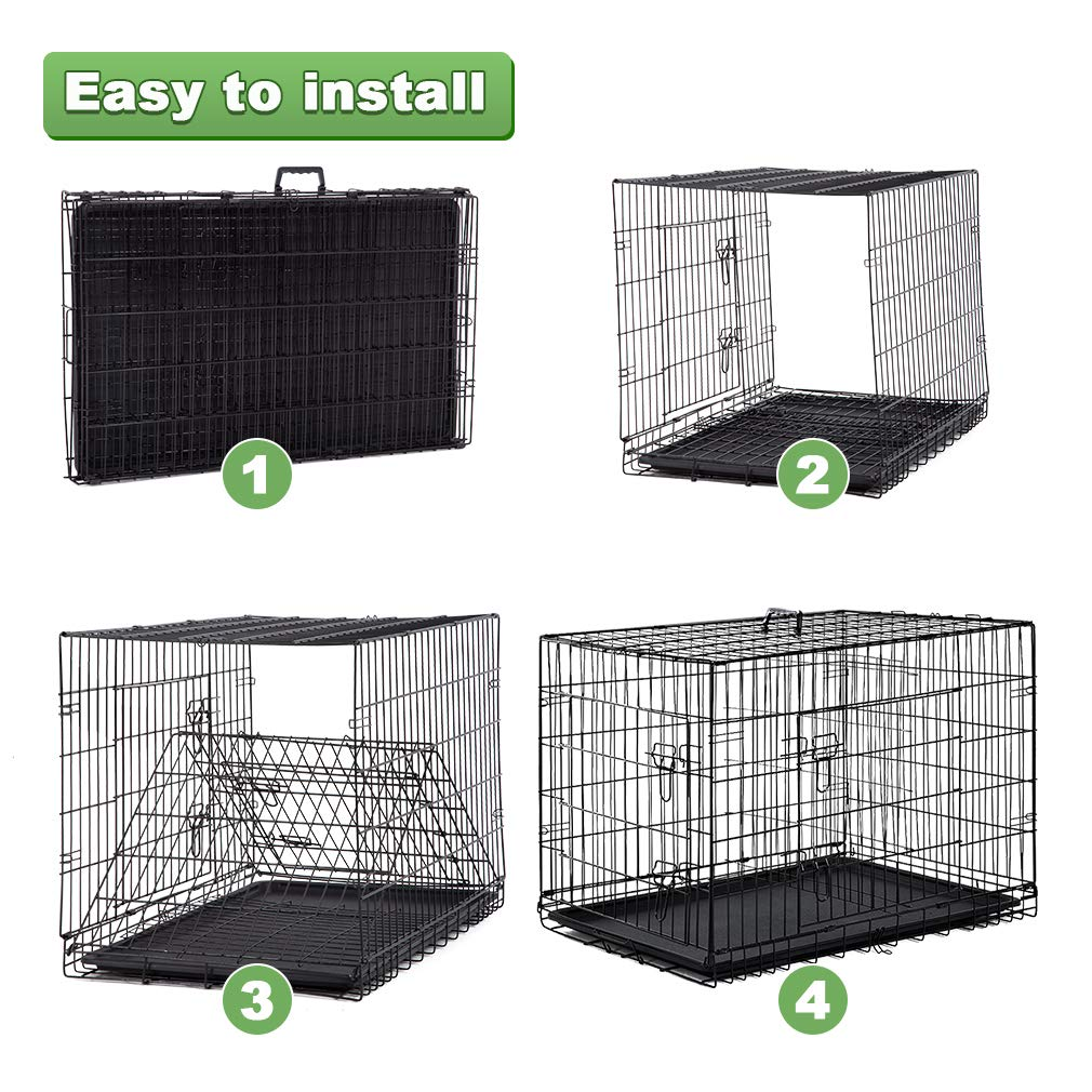BestPet Large Dog Crate Cage Metal Wire Kennel Double-Door Folding Pet Animal Pet Cage with Plastic Tray and Handle,48'' by BestPet (Image #4)