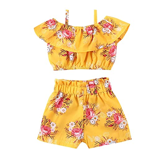 4fddf7439b 2PCs/ Set Toddler Kids Baby Girl Floral Straps Off-Shoulder Ruffle Flounced  Crop Top