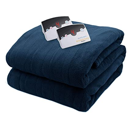Biddeford 2033-905191-544 MicroPlush Electric Heated Blanket Queen Navy Blue best queen sized electric blanket