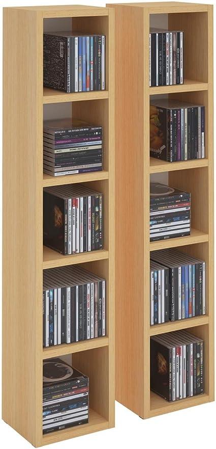 Estantería de columna de música modular y apilable para CDs y DVDs, de tableros de madera densidad media MDF, haya.