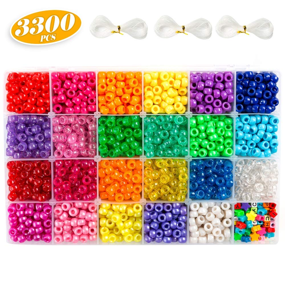 Pony Beads, 33,00 pcs 9mm Pony Beads Set in 23 Colors with Letter Beads, Star Beads and Elastic String for Bracelet Jewelry Making by INSCRAFT by Inscraft