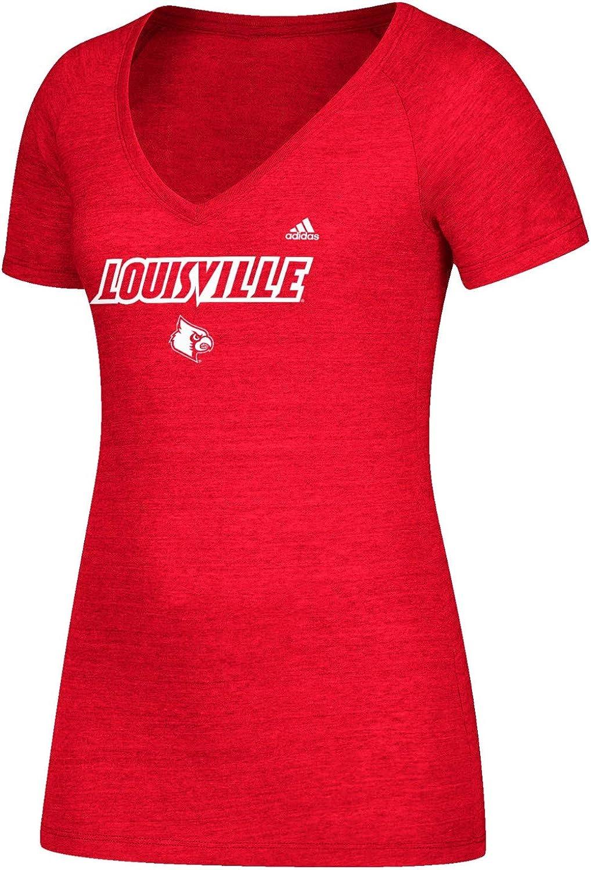 Adidas Louisville Cardinals Ncaa Women'S Wordmark Logo rot Tri-Blend V-Neck T-Shirt