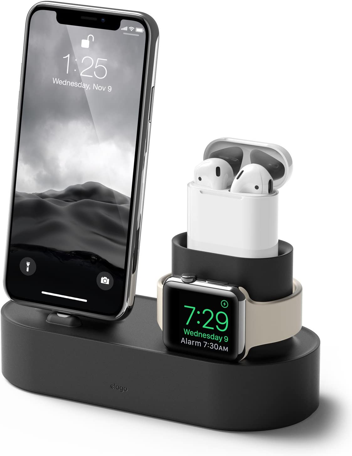 elago 3 in 1 Apple Charging Station Compatible with Apple Watch Series 6/SE/5/4/3/2/1, Apple AirPods 2/1, iPhone 11 and All iPhone Models [Original Cables Required] (Black)