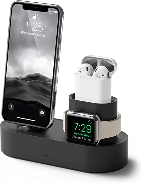 elago 3 in 1 Charging Station Designed for Apple Watch Series 5/4/3/2/1, Apple AirPods 2/1, iPhone 11 and All iPhone Models [Original Cables Required-NOT Included] (Black)