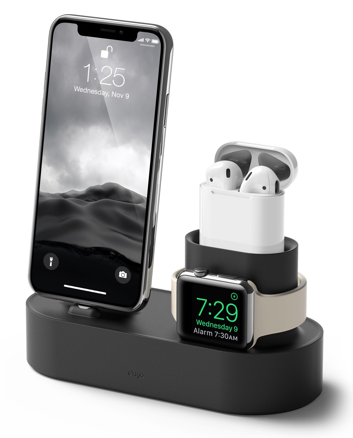 elago Charging Hub [Black] - [3 in 1 Charging Dock] - for iPhone XS/XS Max/XR/X/8/8 Plus, and All iPhone Models; All Apple Watch Series 4 (2018)/3/2/1; Apple AirPods