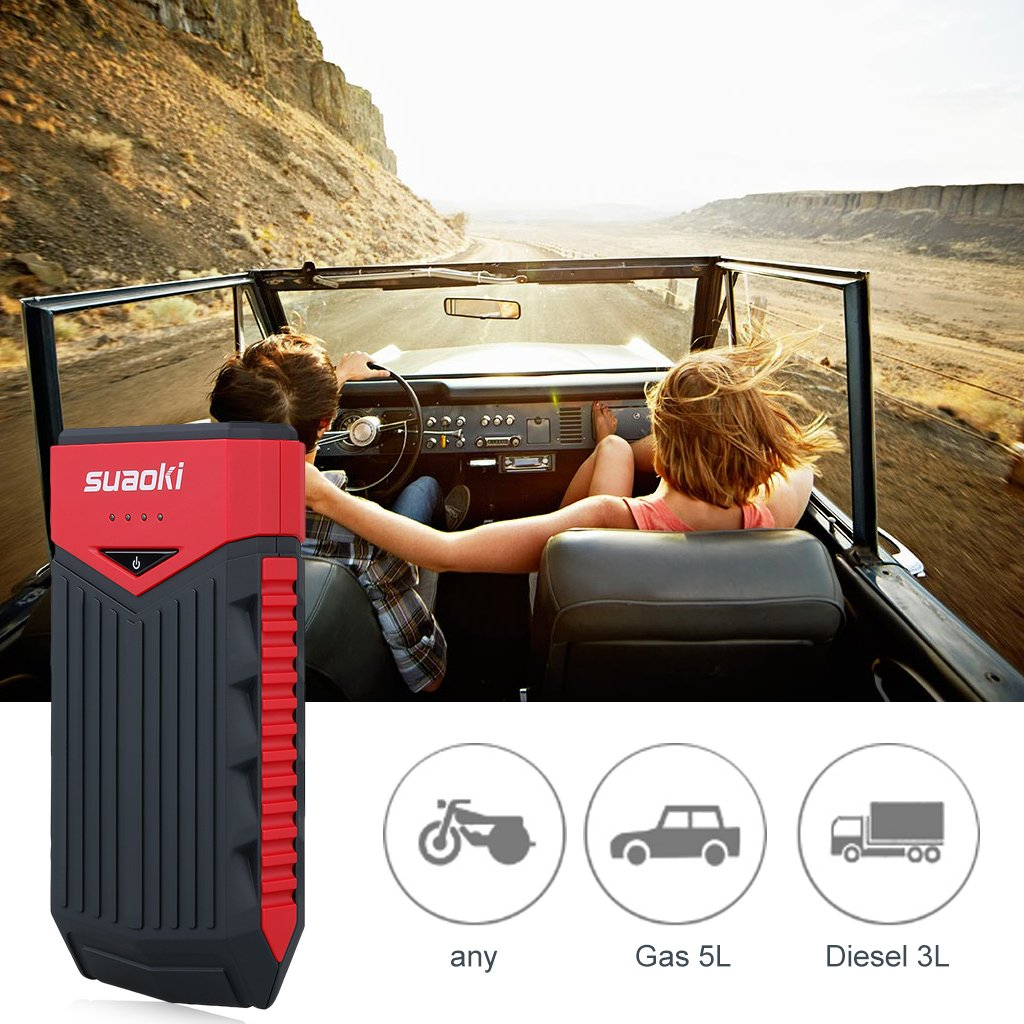 SUAOKI T10 12000 mAh 400 Amp Peak Portable Car Jump Starter Battery Booster with USB Power Bank Smart Clamp and LED Flashlight for Truck Motorcycle Boat Automotive (Red and Black) by SUAOKI (Image #3)