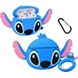 Mulafnxal Compatible with Airpods 1&2 Case,Cute Funny Cartoon Character Silicone Airpod Cover,Kawaii Fun Cool Design Skin,Fashion Animal Designer Cases for Girls Teens Boys Air pods(Q Blue Stitch)