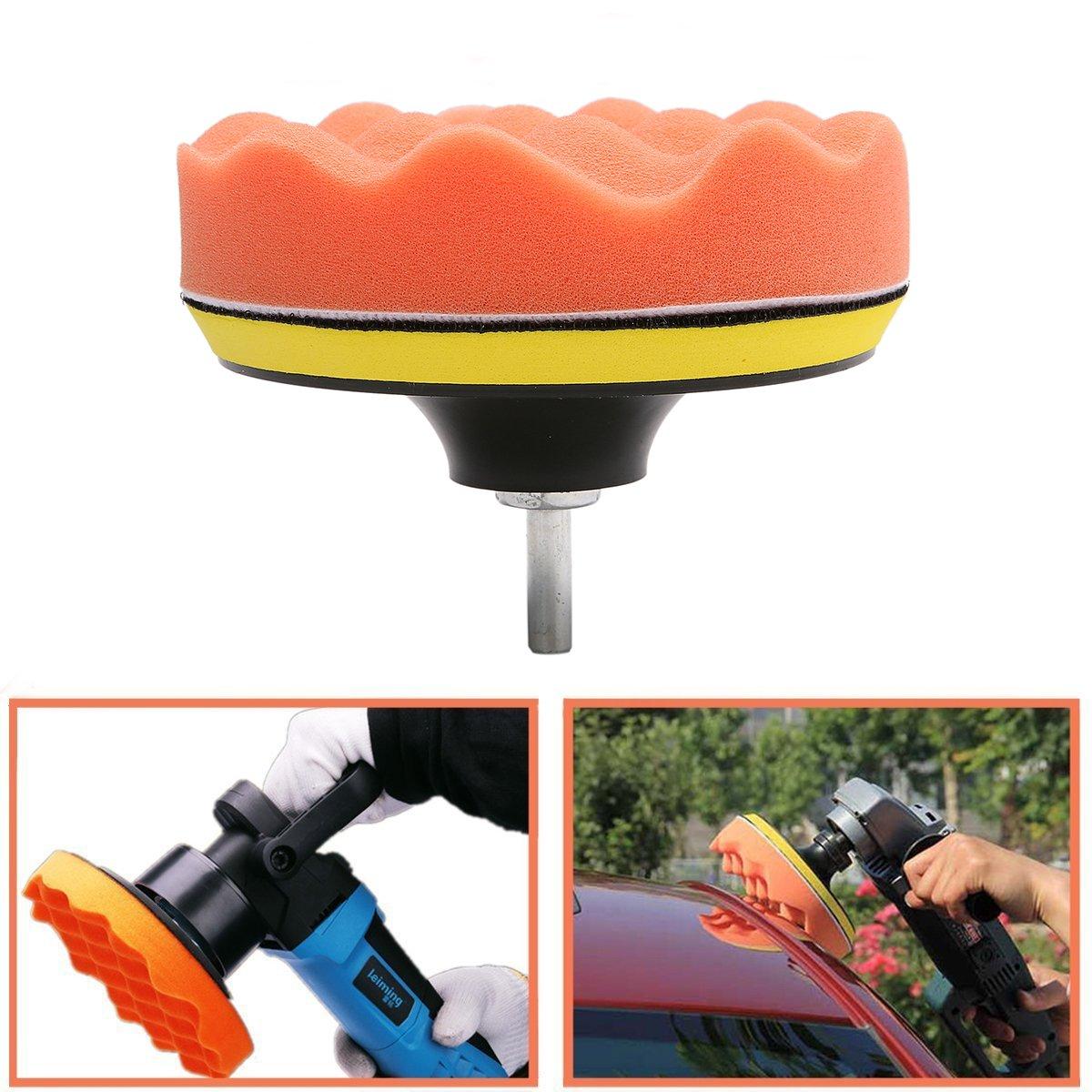 MATCC 7Pcs 6inch Polishing pads,Sponge and Woolen Polishing Waxing Buffing Pads Kits with M14 Drill Adapter, 6inchs by MATCC (Image #5)