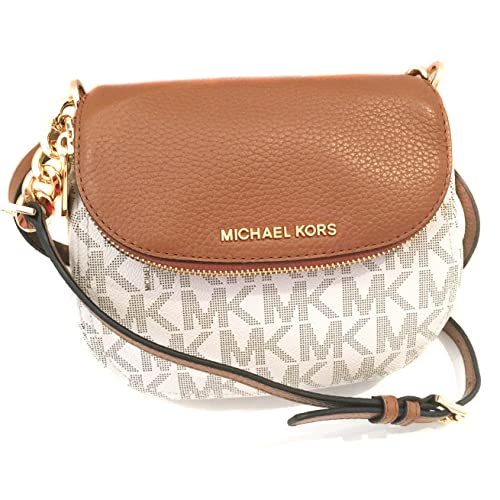 e3e6efd12b30 NEW Genuine MICHAEL KORS Womens Vanilla Acorn Leather MK Logo Crossbody Bag  Handbag Gift