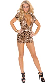 Sexy Women s Super Plunge Slim Fit Animal Print Club Dress With Side Ruching 521d6032f