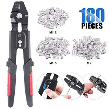 Stainless Steel Fishing Pliers Wire Rope Swager Crimpers /& Crimping Sleeves Set