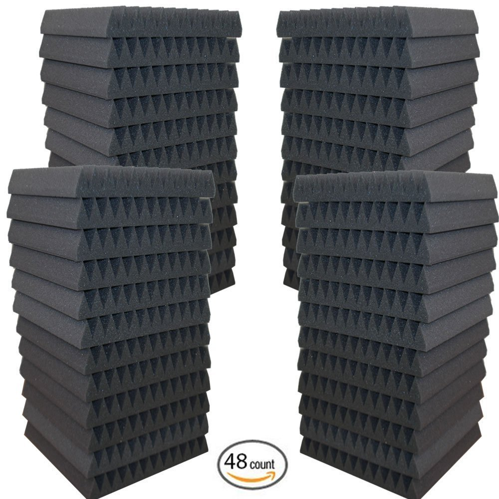 AK TRADING 48 Pack Charcoal Acoustic Panels Studio Foam Wedges 2 x 12 x 12 Inches AK TRADING CO.