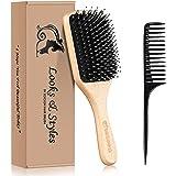 Hair Brush, Sosoon Boar Bristle Paddle Hairbrush for Long Short Thick Thin Curly Straight Wavy Dry Hair for Men Women Kids, N