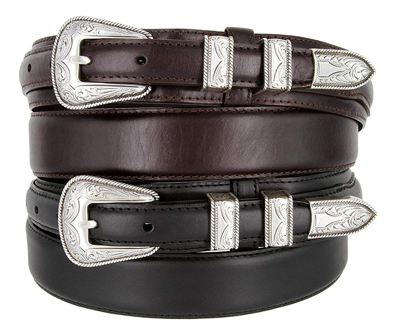 BBBelts Men 1-3//8 Wide Oil Tanned Smooth Leather Engraved Silver Buckle Belt