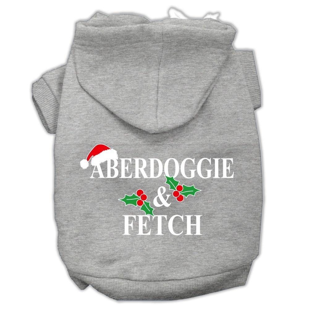 Mirage Pet Products Aberdoggie Christmas Screen Print Pet Hoodies Grey, X-Large