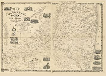 Amazoncom Vintage 1851 Map of Monmouth County New Jersey from