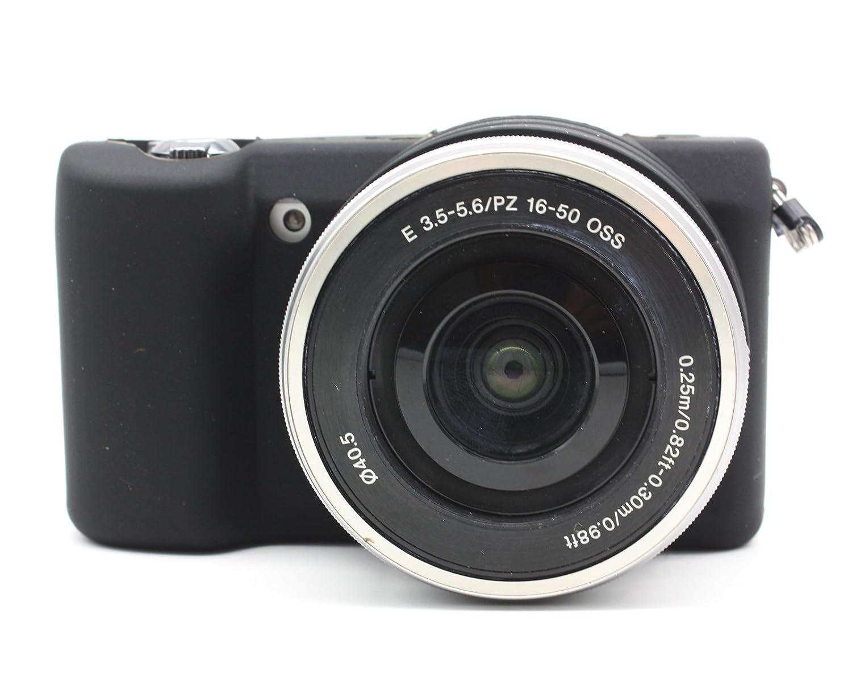 /50/mm Prime/ FGF Flexible de silicona de goma protectora funda para c/ámara Sony Alpha a5000/la c/ámara con lente de 16/ /Negro