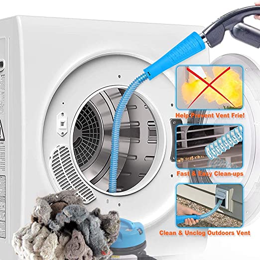 PetOde Dryer Vent Cleaner Kit Dryer Vent Cleaning Kit Vacuum Hose Attachment Brush Lint Remover Power Washer and Dryer Vent Vacuum Hose