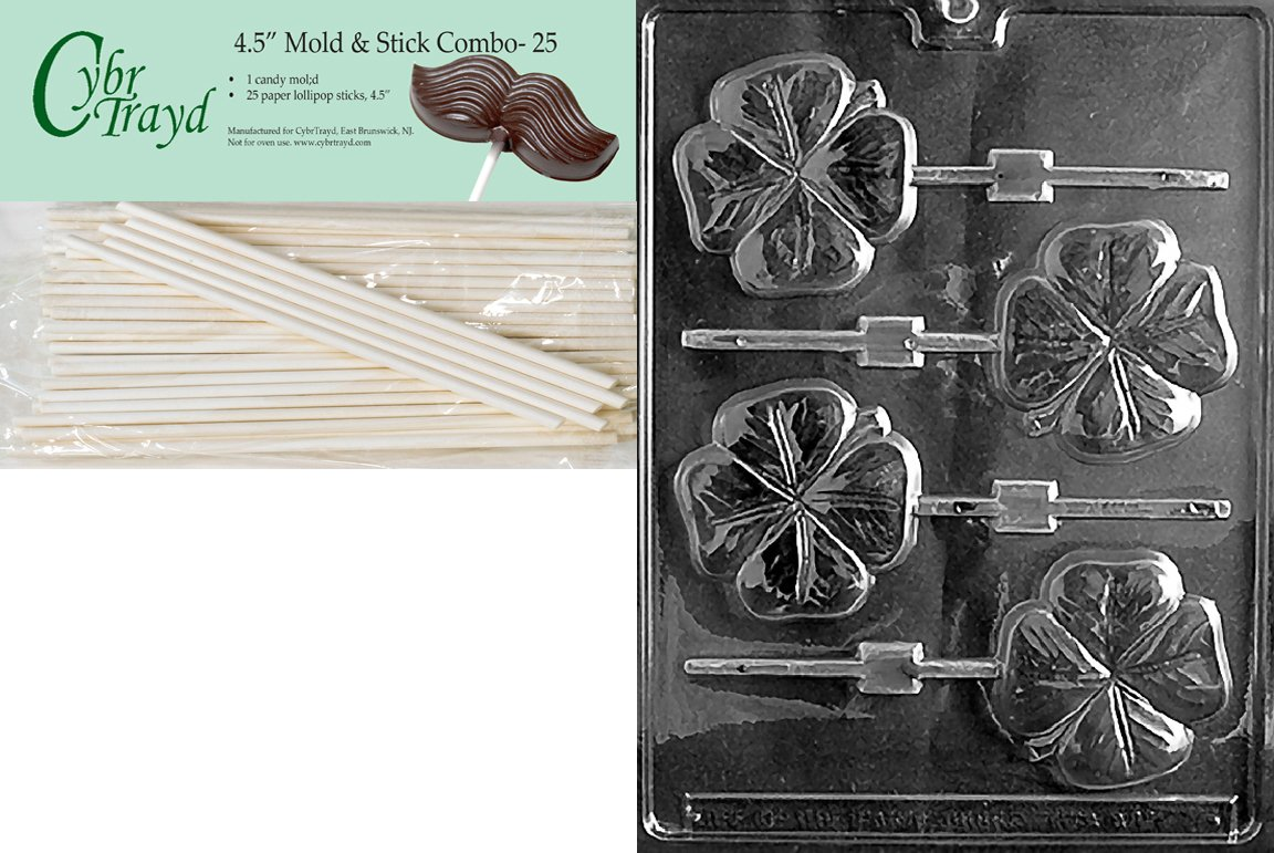 Shamrock Lolly Patriotic Chocolate Candy Mold and Lollipop Sticks
