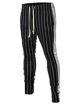 7690cea20 Casual Side Panel Pin Stripe Drawstring Ankle Zipper Track Pants Black White  S