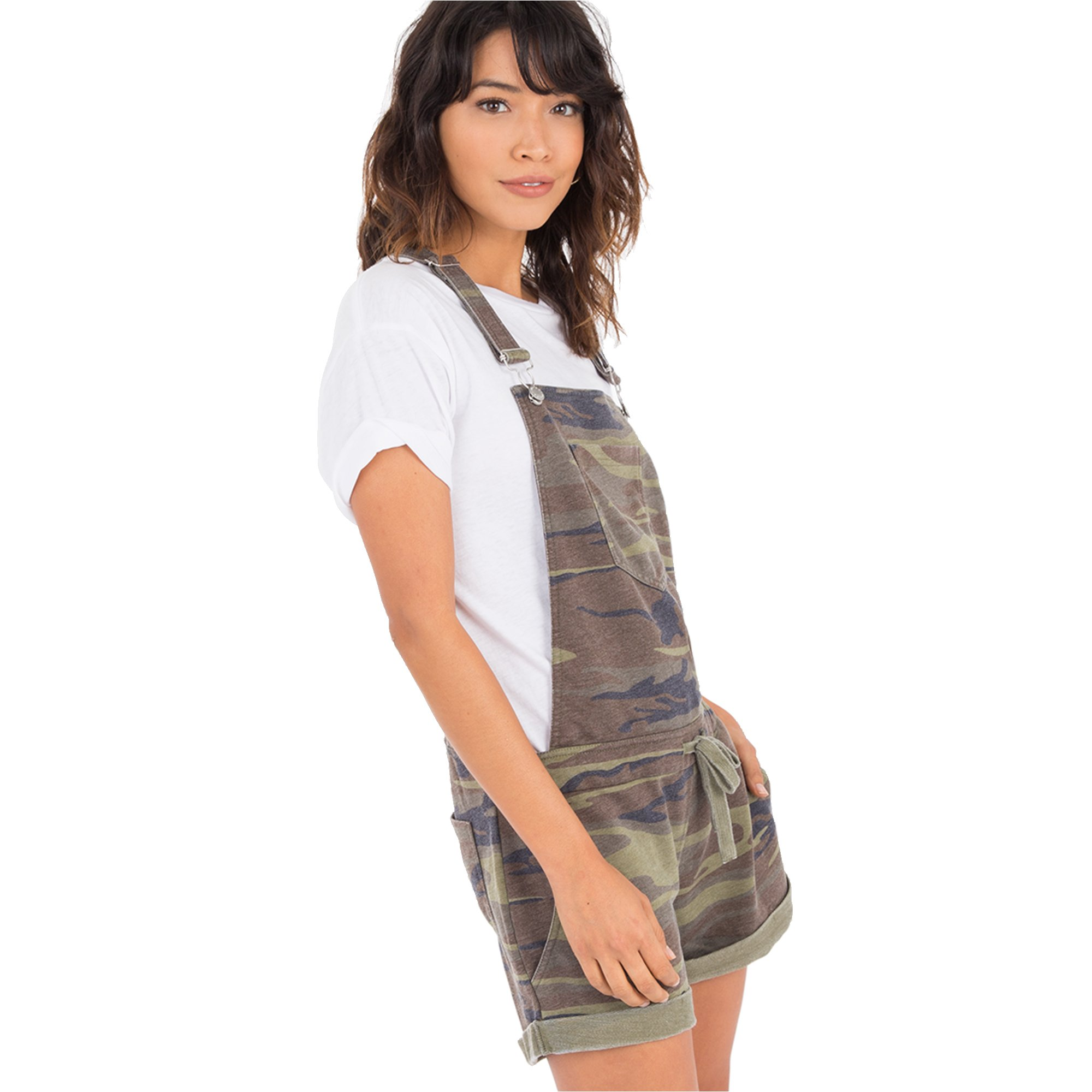 Z SUPPLY Women's The Camo Short Overalls, Camo Green, Medium