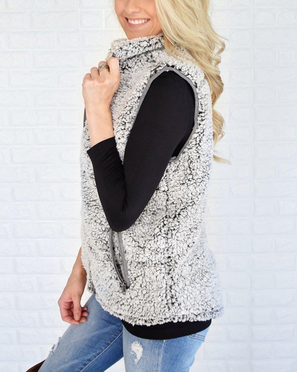 MEROKEETY Women's Casual Sherpa Fleece Lightweight Fall Warm Zipper Vest Pockets by MEROKEETY (Image #2)
