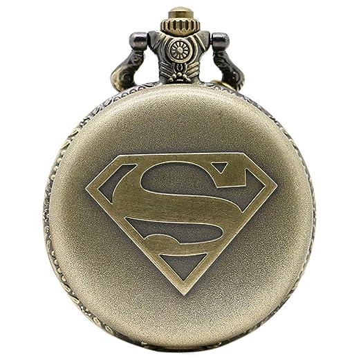 taport® Superman bronce antiguo grabado cuarzo reloj de bolsillo + libre batería de repuesto + libre bolsa de regalo: Amazon.es: Relojes