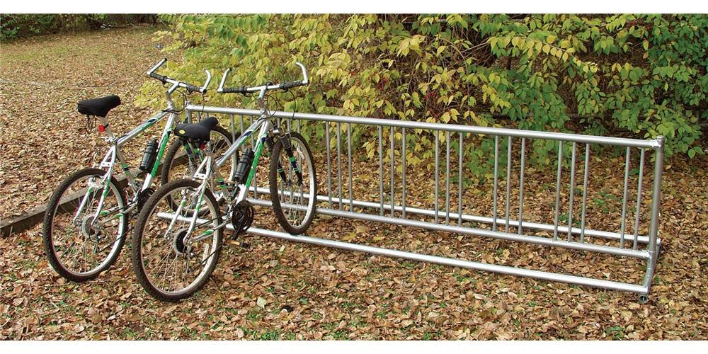Double Entry Bike Rack (5 ft. Portable (65 lbs.): Holds 9 bikes)