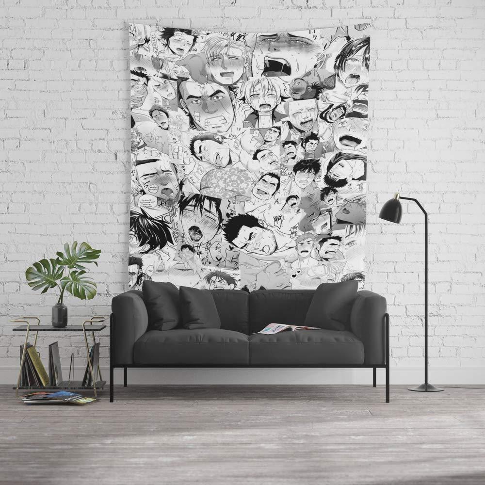 Force-over Tapiz de Pared tamaño Grande: 152 x 228 cm, Ahegao Hentai Manga Guys Collage en B & W (Bara/Doujinshi): Amazon.es: Hogar