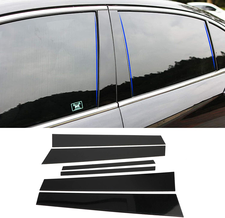 Bruce & Shark Black Pillar Posts 6PCS Cover Door Trim Window Decal for Honda Accord 2008-2012