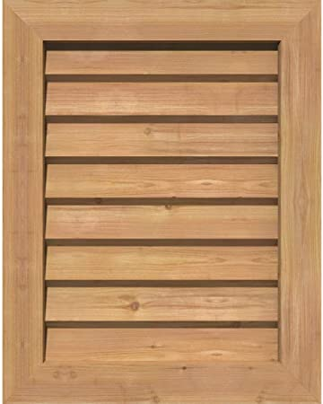 Rectangular Louver Vent 16 in x 24 in Western Red Cedar Wood Ventilation