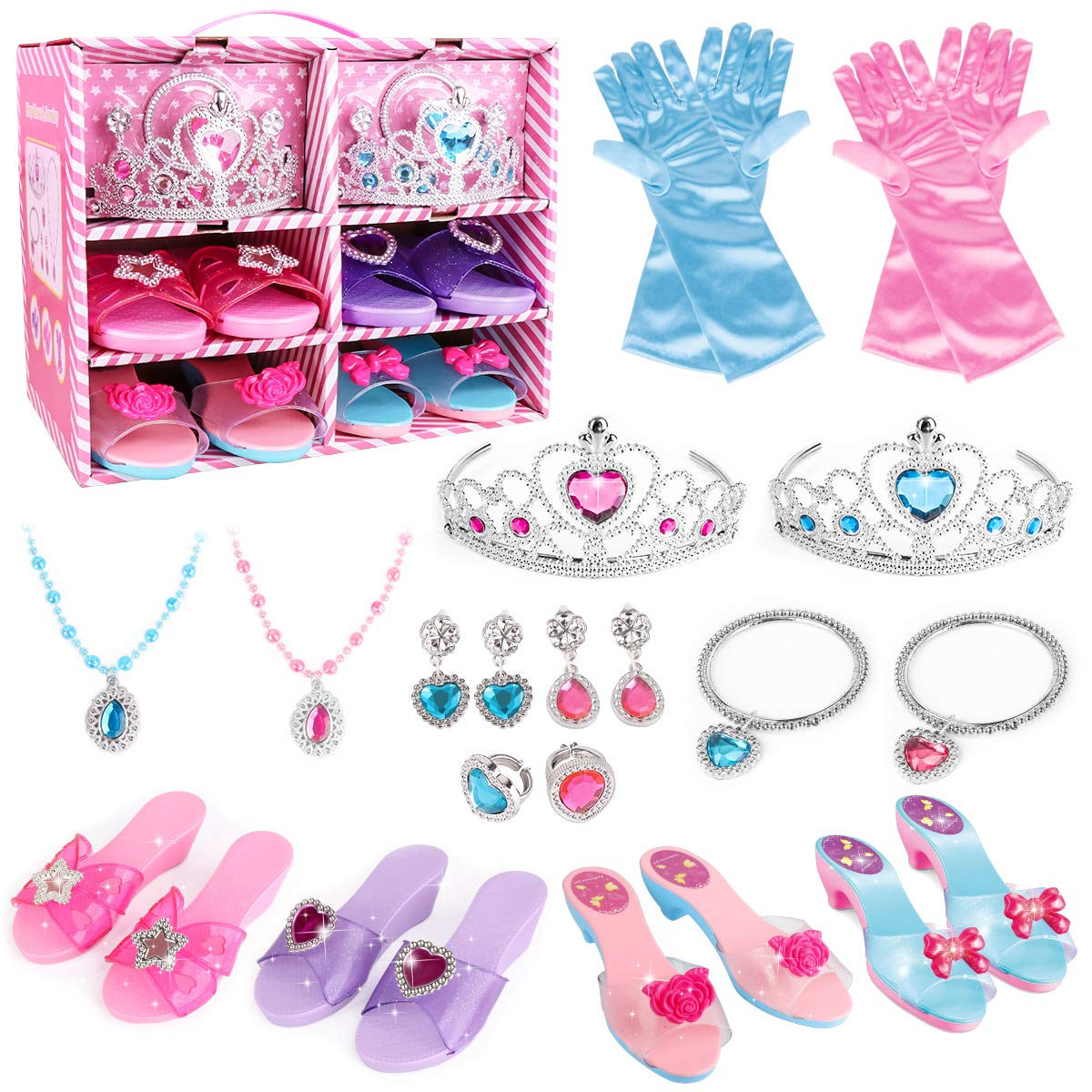 Princess Dress Up Shoes and Jewelry Boutique - 4 Pairs of Play Shoes and Pretend Jewelry Toys Princess Accessories Play Gift Set for Toddlers Little Girls Aged 2,3,4,5,6 Years Old by Meland