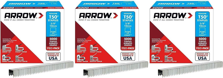 Arrow Fastener 506IP T-50 Staples 5000-Pk 3//8-In - Quantity 20