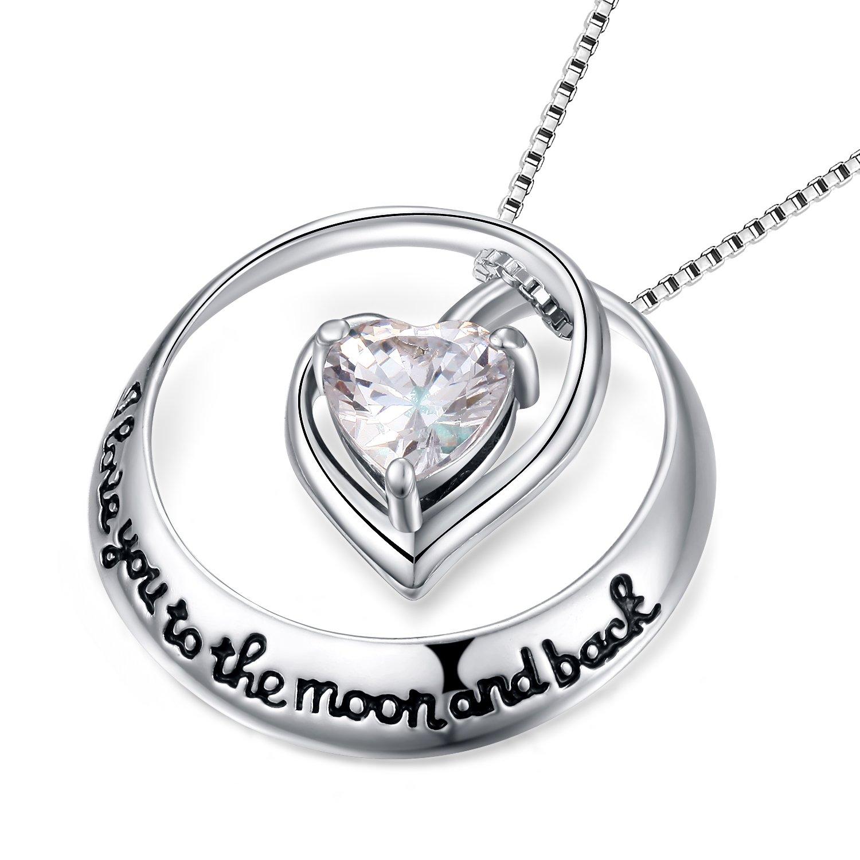 CEINTER Kette Damen Herzförmig Kreisförmig 925 Sterling Silber Damen Ketten Anhanger für Mode Frauen, Kette Silber 45cm
