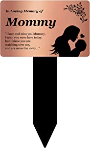 OriginDesigned in Loving Memory of Mommy - Engraved Memorial Stake with Poem and Illustration (Gold/Silver/Copper or Black & White Plaque) (Copper)