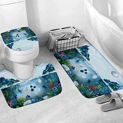 3pcs Non-Slip Kids Bathroom Rug Bath Mat Toilet Seat Lid Cover Set Home Decor