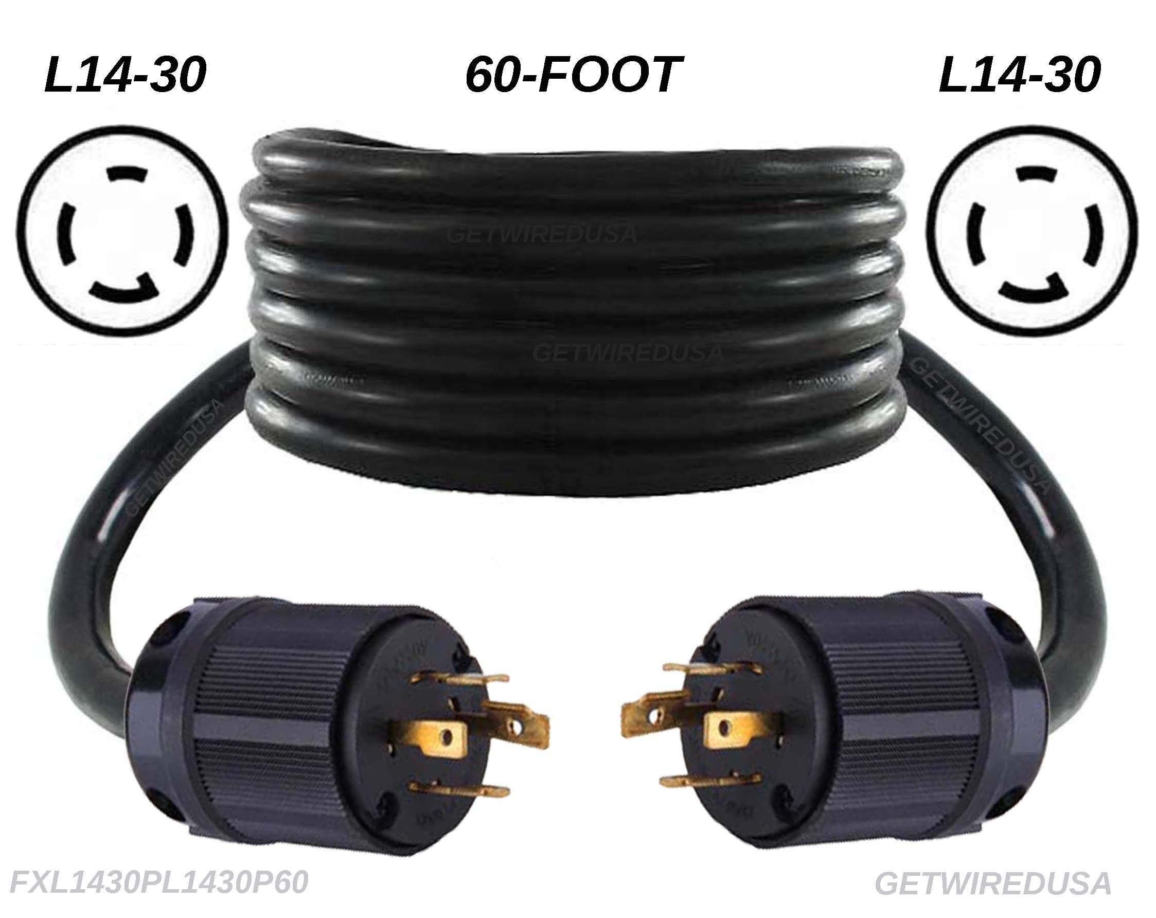 getwiredusa 60FT L14-30P Twist Lock Generator Male 4-Pin Plug Cord Adapter, Transfer Switch Connector Cable FXL1430PL1430P-60