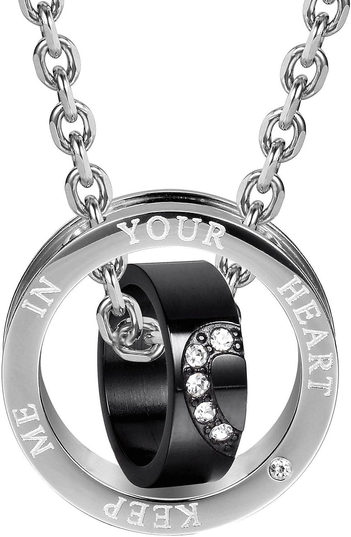 Black Gold Titanium Steel Diamante Double Rings Pendant Lovers Couple Necklace