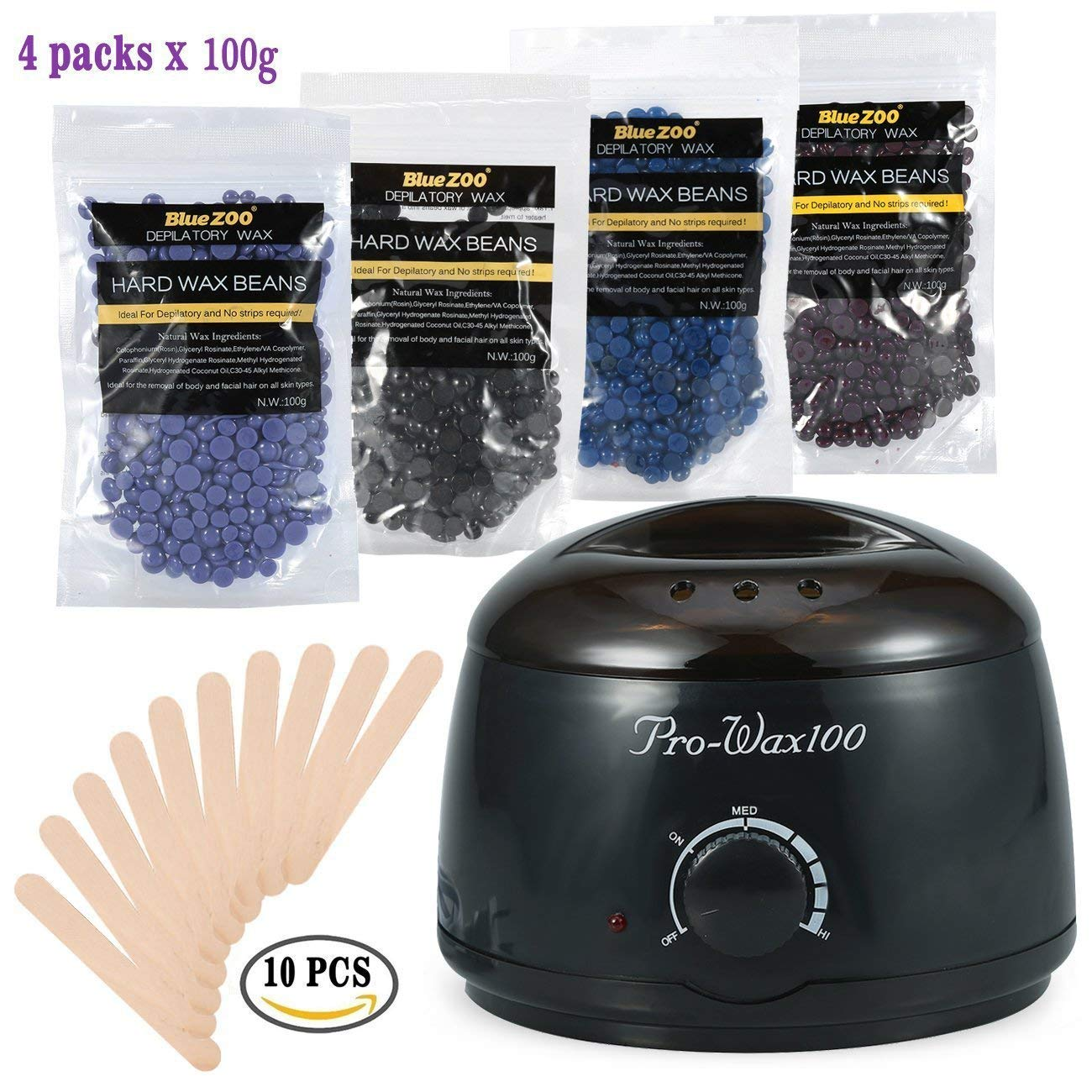 ZJchao Wax Warmer Hair Removal, Hand Warmers Professional and Fast Wax Heater for Wax Types (Hard, soft, Paraffin) Thermostatically Controlled, with Adjustable Temperature Black