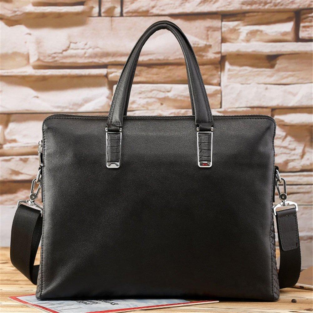 Black GLJJQMY Fashion Leather Large-Capacity Business Briefcase Handbag Messenger Bag Mens Bag 38.5 28 6cm Briefcase