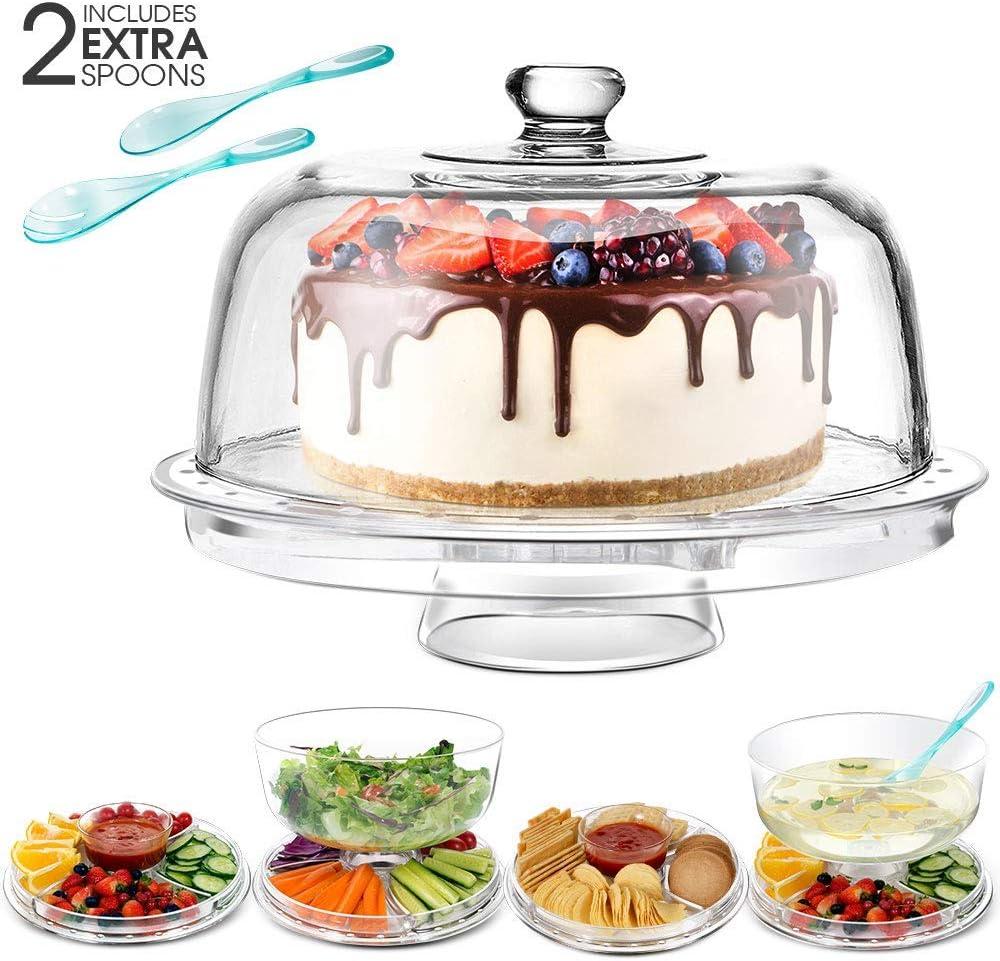 Compra Masthome - Expositor multifuncional 6 en 1 con cúpula transparente para tartas, cuenco para postres, 2 cucharas suplementarias en Amazon.es
