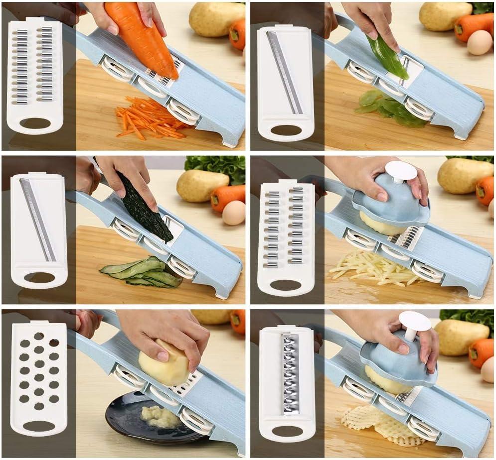 Cortar porciones manuales Cebolla takestop/® Cortador Mango de pl/ástico Patatas con Cuchillas de Acero Cortador de Verduras pr/áctico Color Aleatorio Utensilios de Cocina